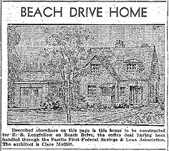 Proposed Beach Drive House, Seattle Daily Times, May 3, 1936