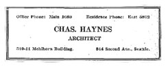 Charles L. Haynes Advertisement, Seattle Daily Times - August 24, 1923