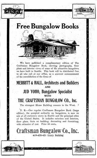 Advertisement - Craftsman Bungalow Co., Seattle Times: Nov. 28, 1911
