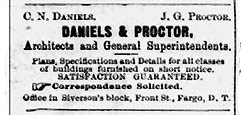 Dainels & Proctor Advertisement - Grand Forks Daily Herald, August 31, 1883