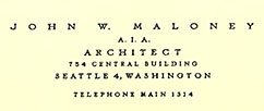 John Maloney Architect Office Letterhead - 1957
