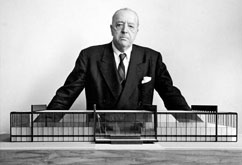 Ludwig Mies van de Rohe with model of IIT Crown Hall