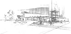 Architect's rendering, North Spokane Branch Library - c.1967