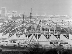 Tacoma Dome under construction, 1981