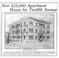Rendering of Wellington Court, Seattle Times - October 28, 1906