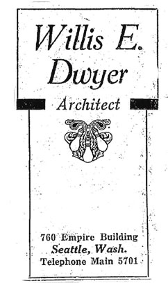 Willis Dwyer Advertisement, Seattle Times - February 17, 1924